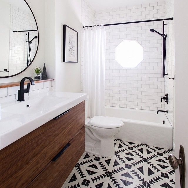 gorgeous bathroom using cement tile and ikea vanity (refaced