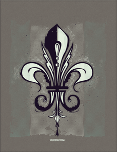 Fleur de Lis 12. 3 Colors 8.5x11 art print on Construction - Charcoal Brown French Paper.