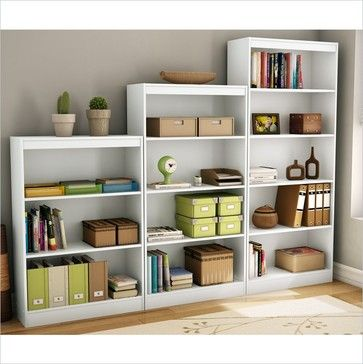 Amazing South Shore 5 Piece Bookcase Set In Pure White   Transitional   Bookcases  Cabinets And Computer