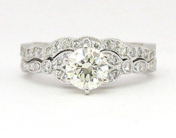 Round antique diamond engagement ring