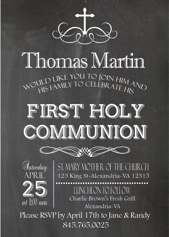 Chalkboard Invitation First Communion By Alapipetuadesign On Etsy