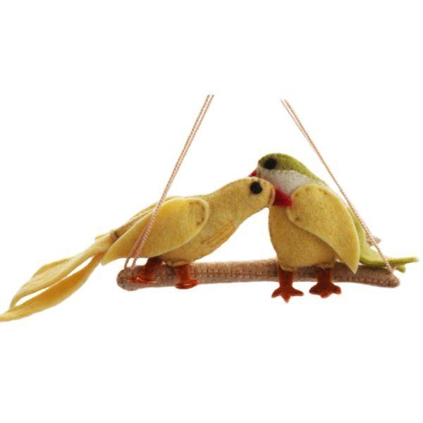 Lovebirds Felt Holiday Ornament - Silk Road Bazaar (O)