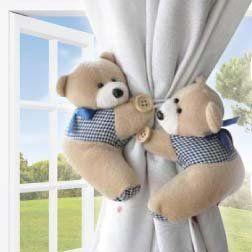 Cute Teddy Bear Curtain Tie Backs 2pc Set Baby Nursery