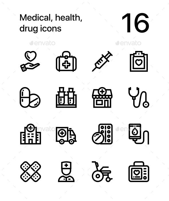 Medical, Health, Drug Icons for Web and Mobile Design Pack