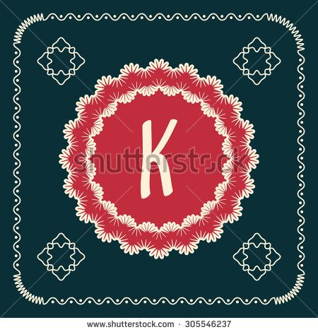 Vintage square cards with letters of the alphabet K, and a background in retro style. For use in web, logo, greeting cards and more - stock photo
