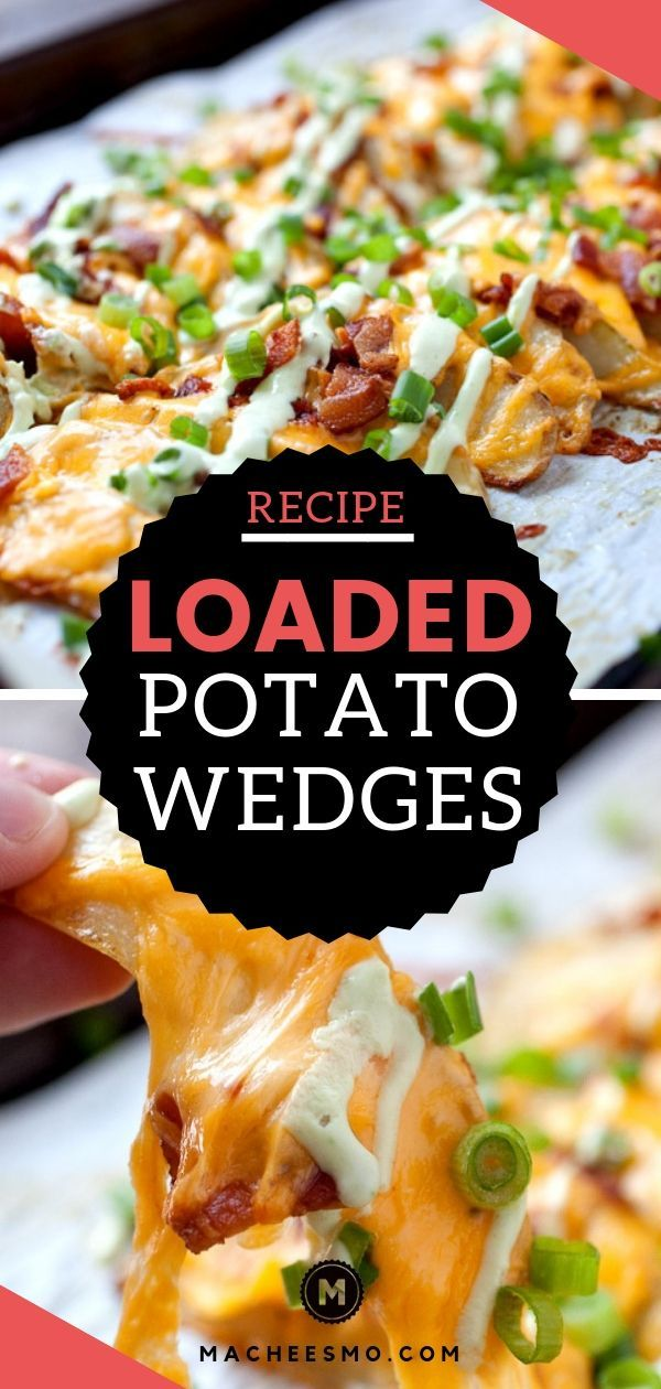 Loaded potato Wedges - Baked and Crispy ~ Macheesmo