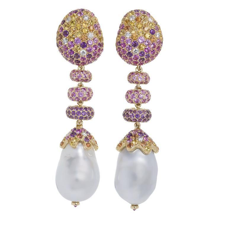 Margot McKinney Jewelry Linear Sapphire, Diamond & Baroque Pearl Drop Earrings in 18K White Gold