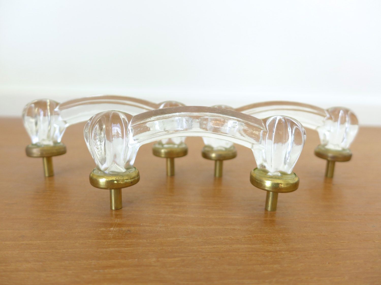 Three 4 inch fluted glass drawer pulls or handles with antique ...