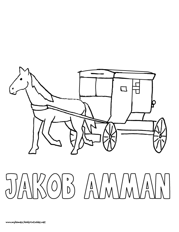 world history coloring pages printables jacob amman amish buggy - Amish Children Coloring Book Pages