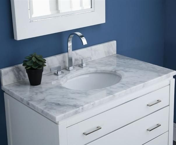 Xylem Carrara Marble Vanity Top For Oval Undermount Sink Mautxxxwt H1xylem Carrara Marble Vanit Bathroom Vanity Bathroom Vanity Tops Bathroom Furniture Vanity