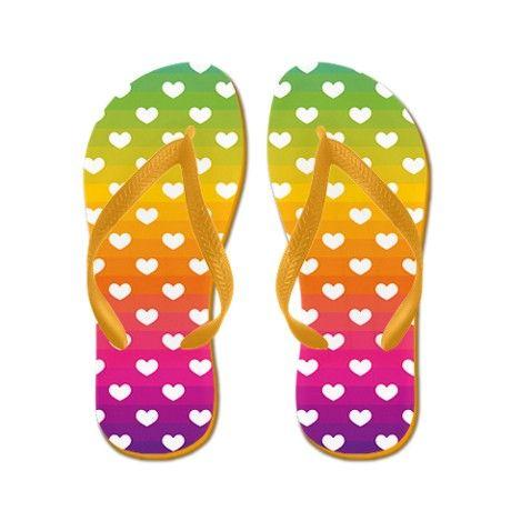 33e7024b17ed Hearts and Rainbow Stripes Flip Flops by woodsyend  cafepress  flipflops