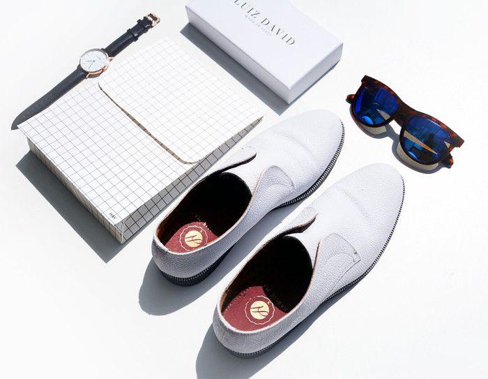 all white flatlay / white @charliemayuk leather brogues / HAY square box / Cluse Watches / Luiz David sunglasses / white flatlay / summer essentials /