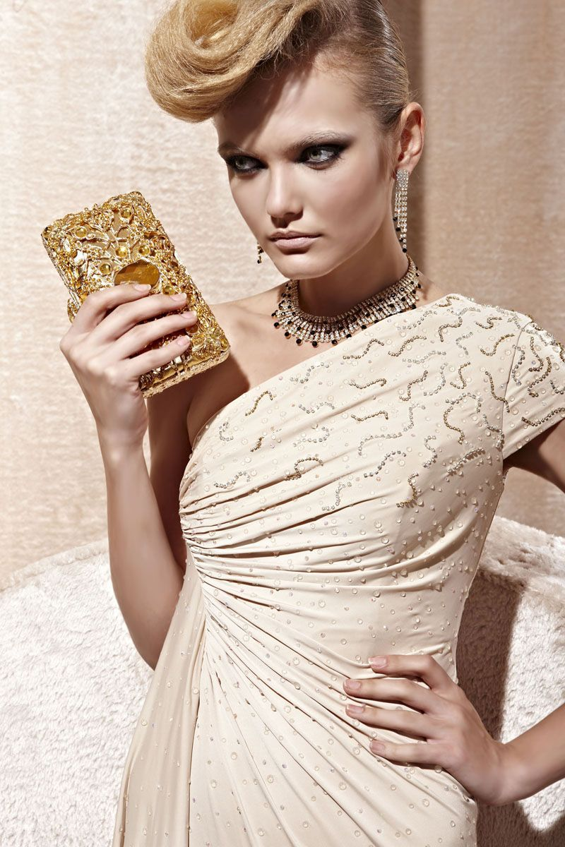 Coniefox Beige One shoulder Asymmetric Prom Evening Dresses 80995 #promdress #longgown #partydress #wedding