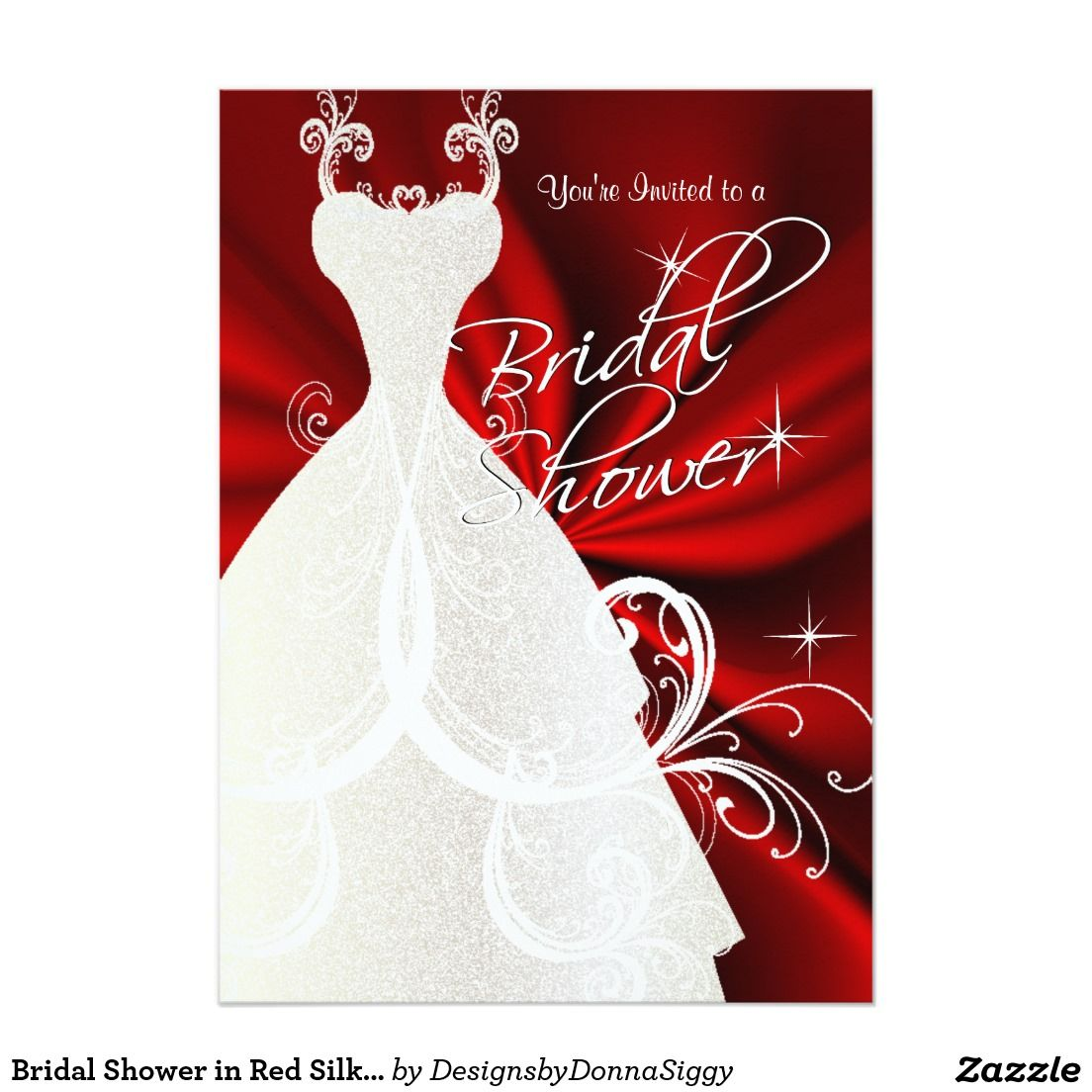 #Bridal #Shower in #Red Silky Satin 5x7 Paper #Invitations Card #bridalshower $2.06