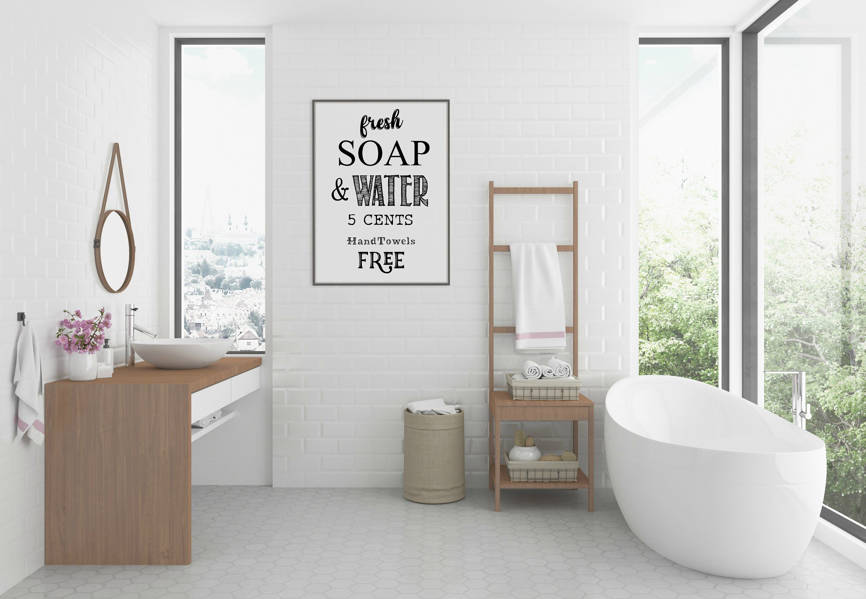 Bathroom Wall Decor Bathroom Wall Art Black And White Typography