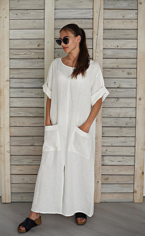 White Linen Off The Shoulder Beach Dress Beachwear And Summer Beach Wear Dresses Boho Chic Fashion Fashion [ 1500 x 1000 Pixel ]