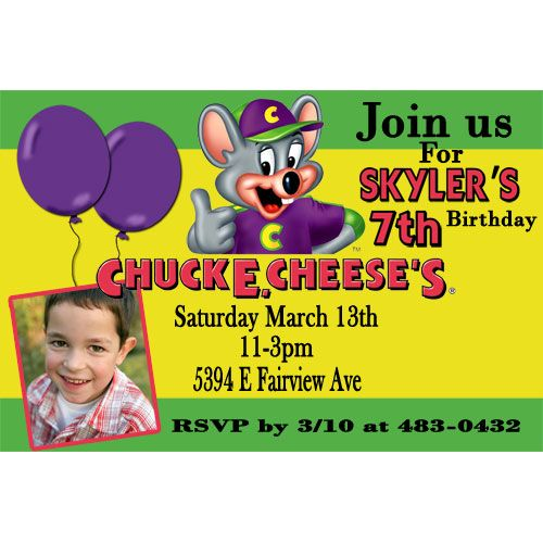Chuck E Cheese Photo Birthday Invitation Green Chuck E Cheese - Chuck e cheese birthday invitation template