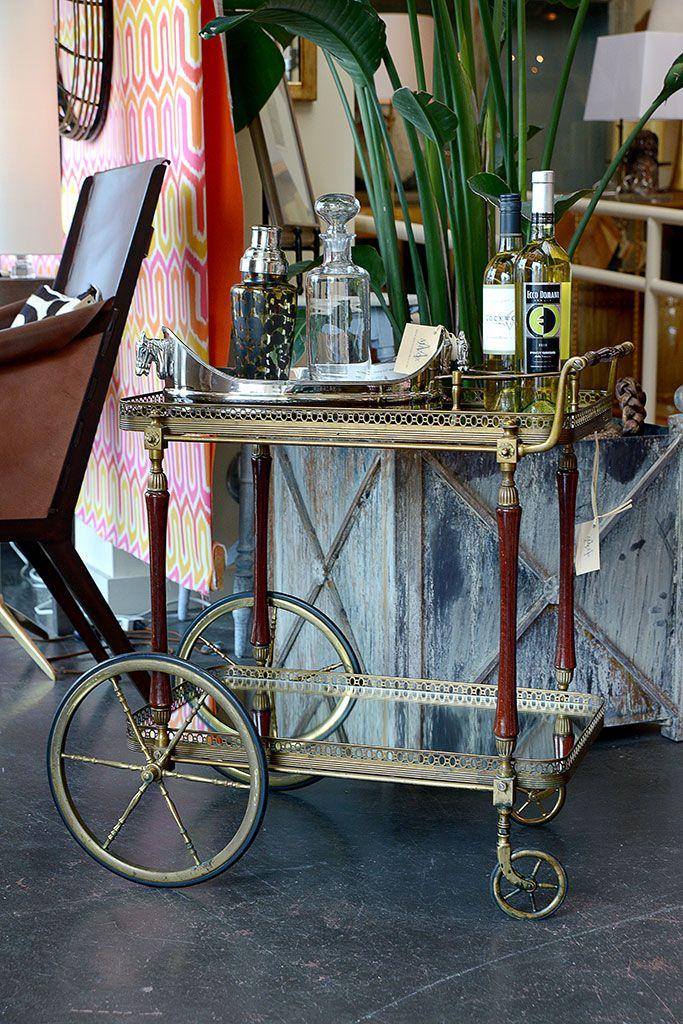 Bar #cart display at #Mecox #Houston #interiordesign #MecoxGardens #furniture #shopping #home #decor #design #room #deisngidea #vintage #antiques #garden