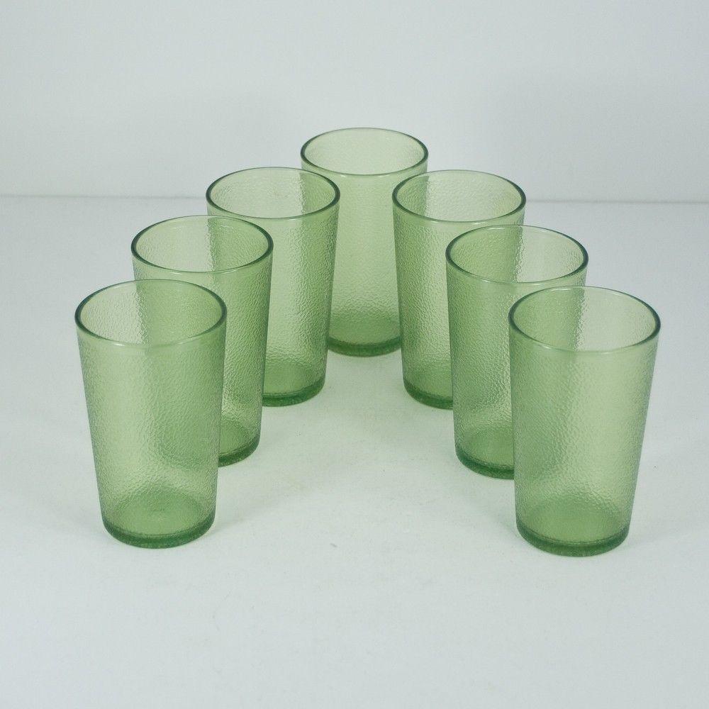 Lot 7 Vtg Texan Ware Green 4 Oz. Juice Drinking Glasses