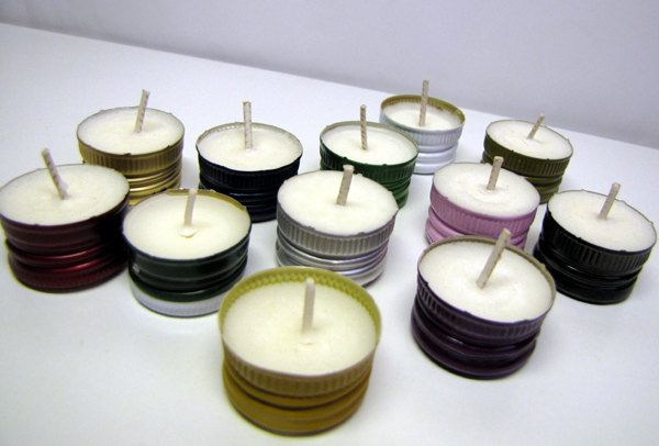 Bartender's Choice - Recycled B-Lights Soy Wax Candles 12 Pack Unscented Tea Lights, Upcycled Wine, Liquor Bottle Caps, Organic, Vegan. $10.00, via Etsy.