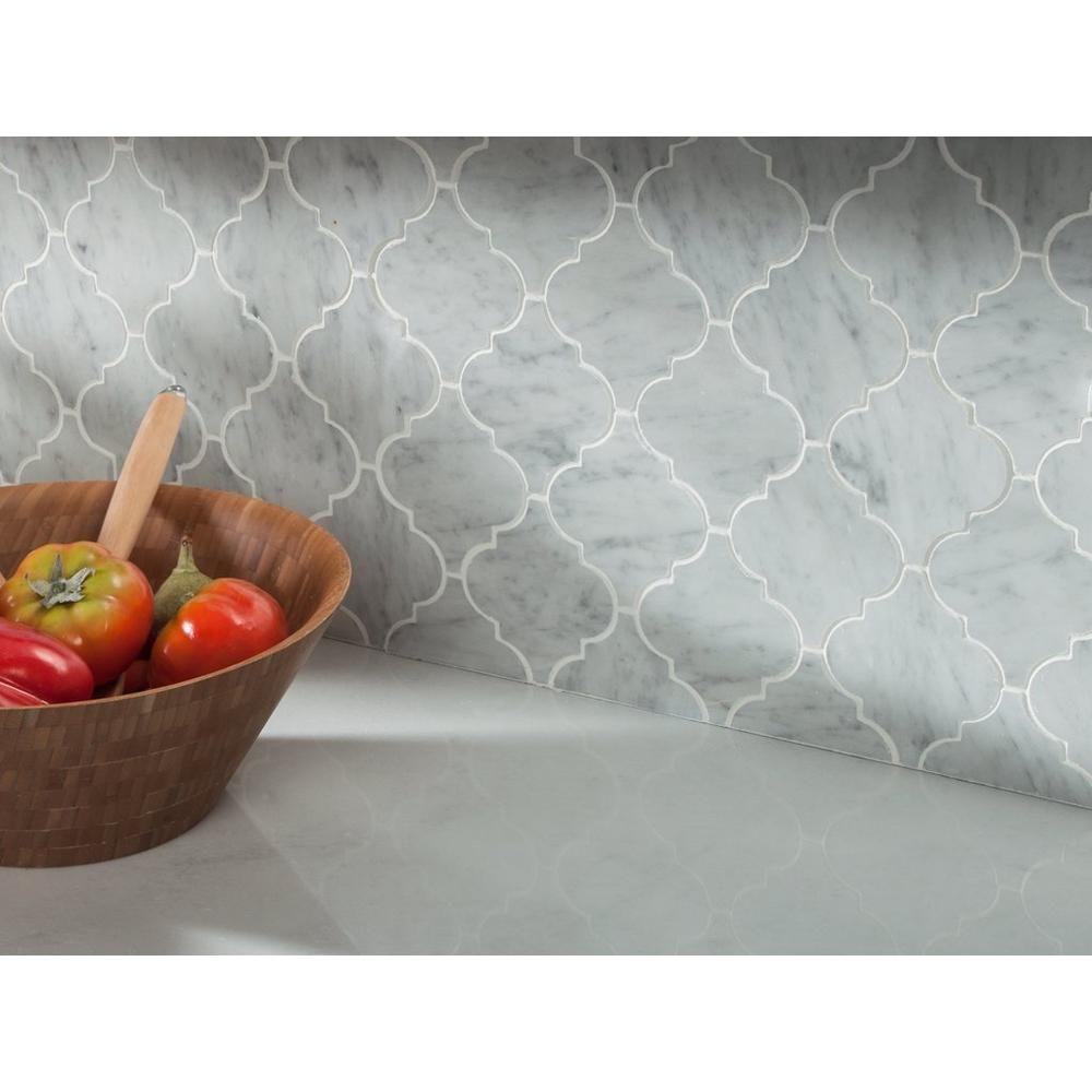 - Bianco Carrara Arabesque Marble Mosaic Marble Mosaic, Bianco