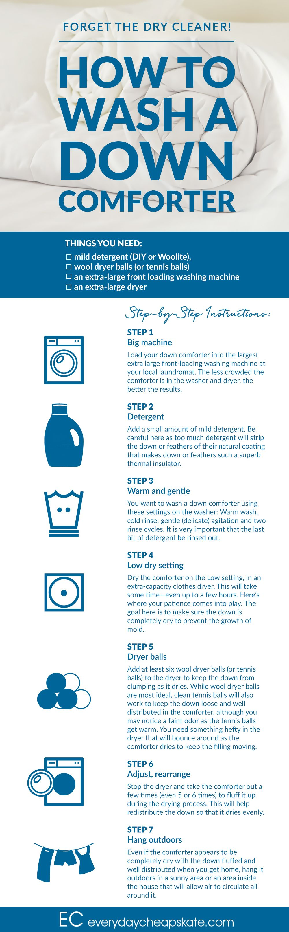 Step By Step Instructions How To Wash A Down Comforter Down Comforter Dry Cleaners Washing Down Comforter