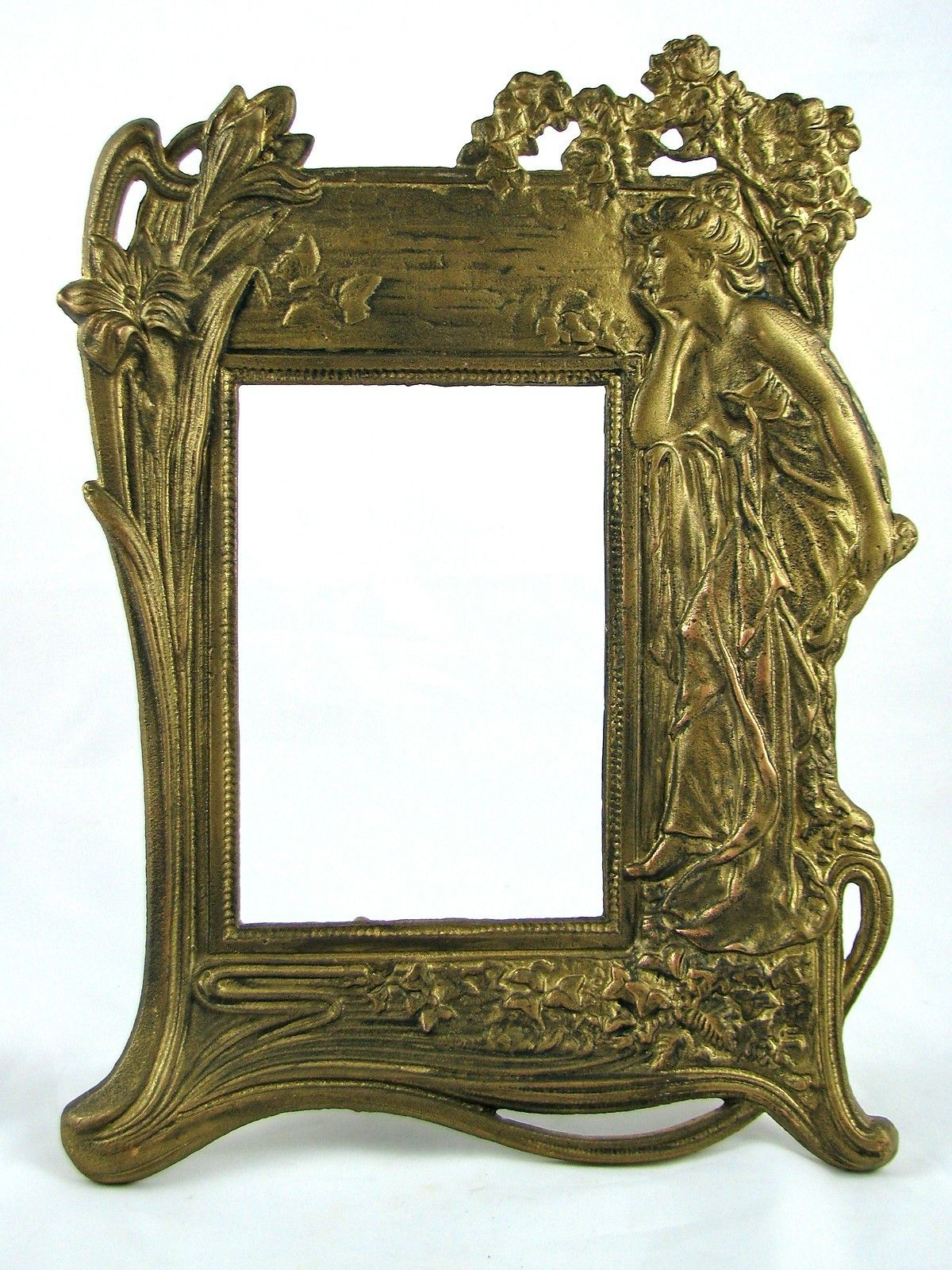 Gold Metal Vintage Antique Lady In Garden Easel Picture