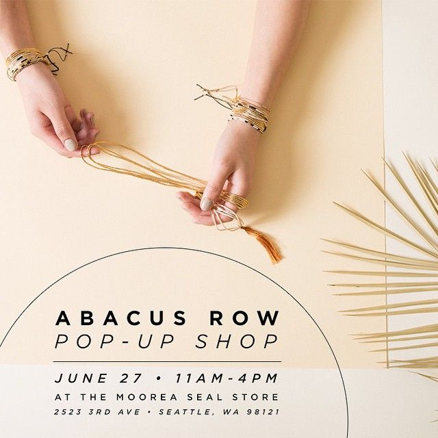 It's time for another fun Summer Pop Up Shop at our brick + mortar! We will be hosting one of our favorite designers Abacus Row and her entire new collection in our shop this Saturday, June 27th from 11-4. We will have drinks and snacks available while you shop her stunning accessories. So excited!