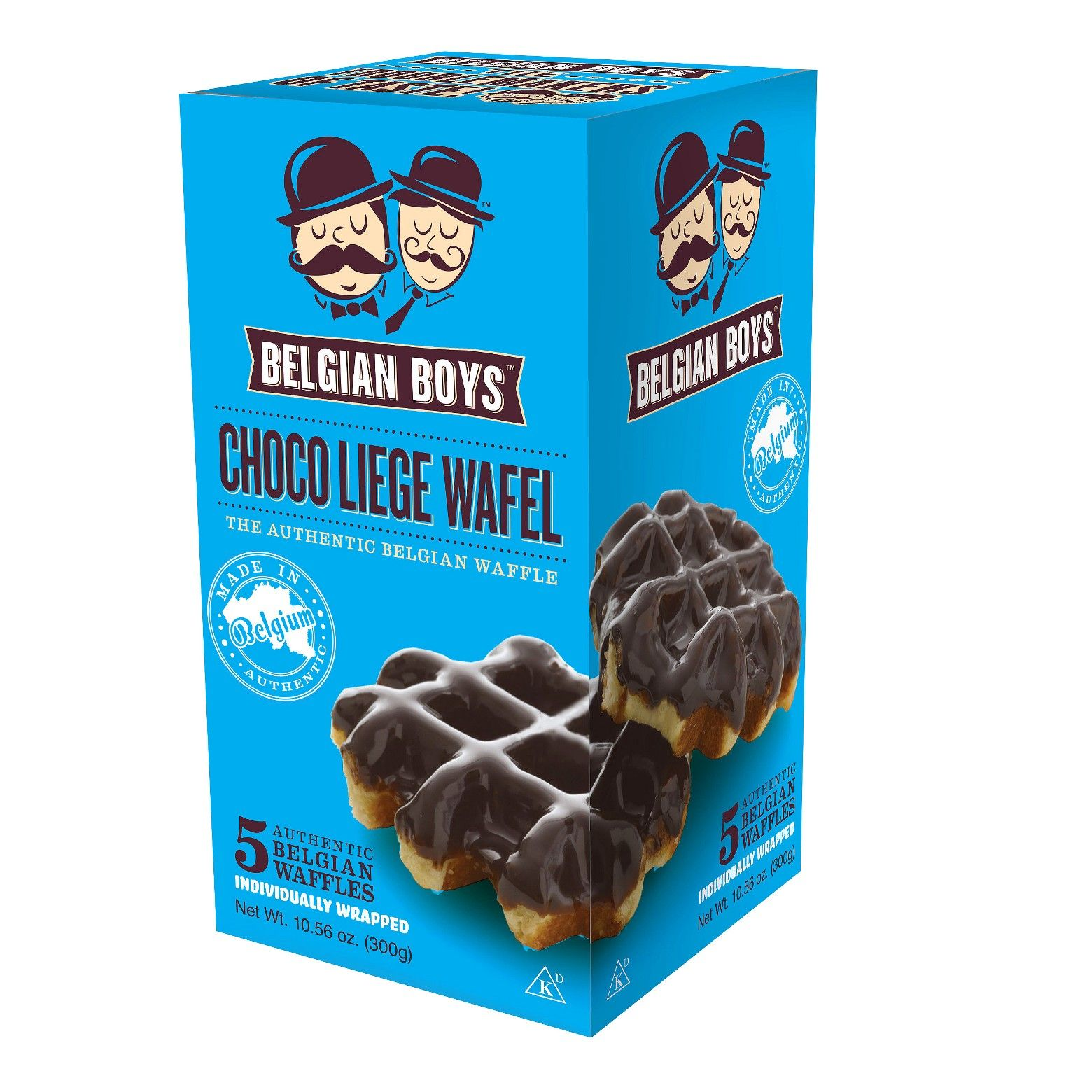 Belgian Boys Choco Liege Waffles are made from fresh dough and glazed with caramelized sugar—and then covered with chocolate. These Belgian Boys waffles can be enjoyed on the go or warmed up and topped with a scoop of ice cream.