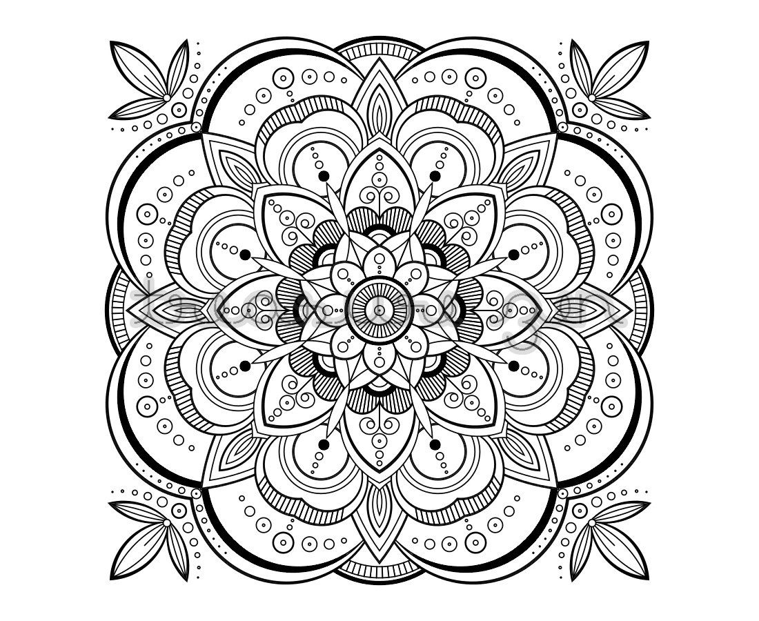 Printable Adult Coloring Book Page PDF Mandala Meditation Art Design Instant Download Digital Drawing