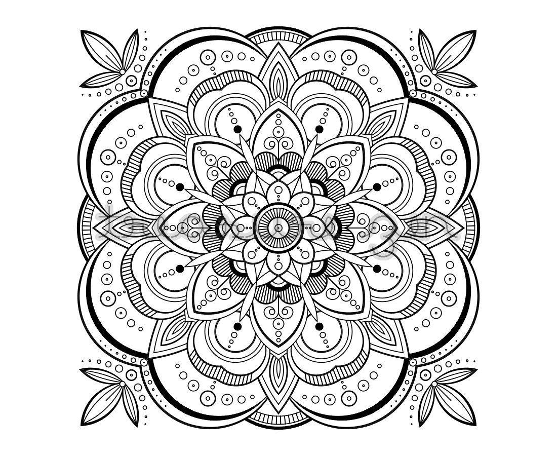 Printable Adult Coloring Book Page, PDF Mandala Coloring ...