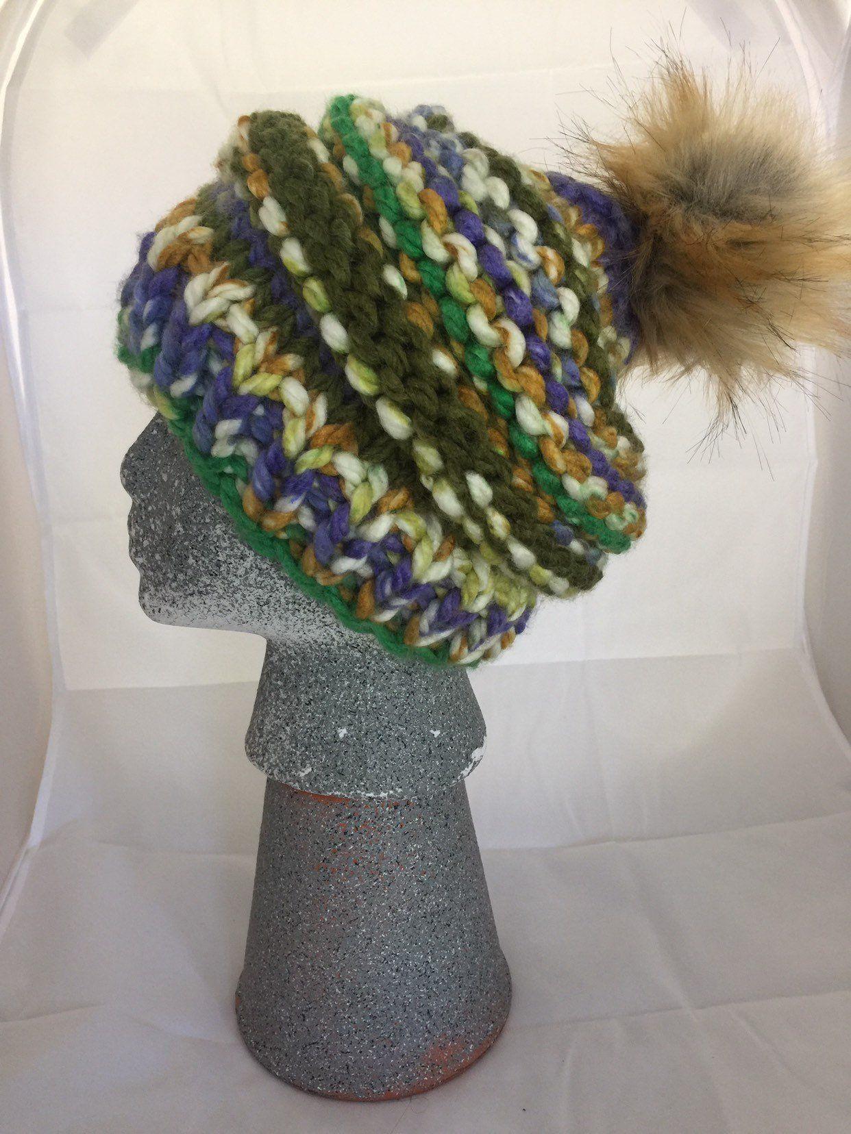 0866ef62031  26.95 Multicolored Wool Pom-pom Beanie by KijaKnits on Etsy