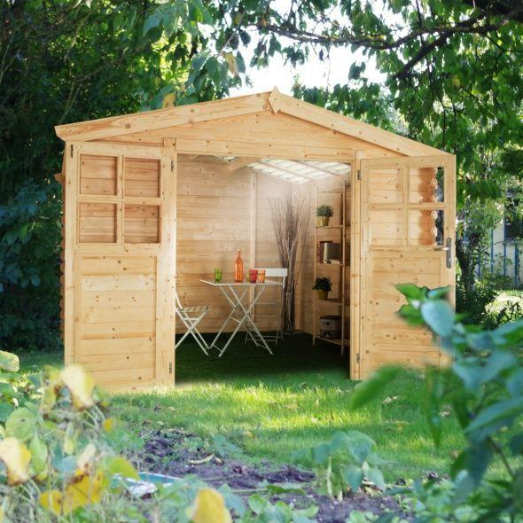 Abri de jardin bois toit polycarbonate 12,52 m² Ep 28 mm Soleil - abris de jardin adossable
