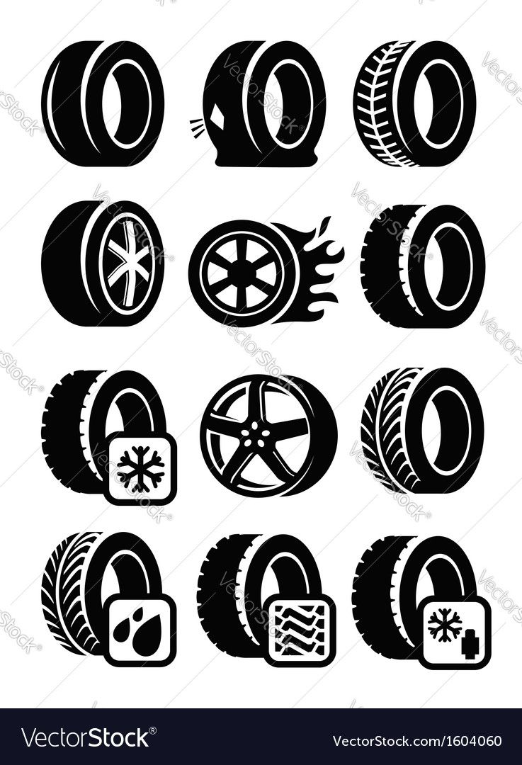 Vector Black Tyre Icons Set On Gray Download A Free Preview Or High Quality Adobe Illustrator Ai Eps Pdf And High Resolution Jpeg In 2021 Tire Icon Icon Set Vector