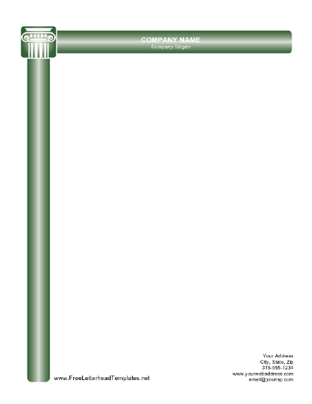 Free Letterhead Templates For Word Printable Letterhead With Green Roman Columnsfree To Download And .