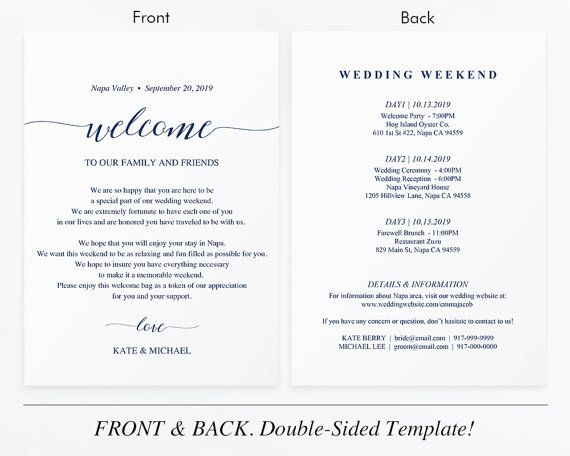 Navy Wedding Itinerary Card Welcome Note Printable Wedding