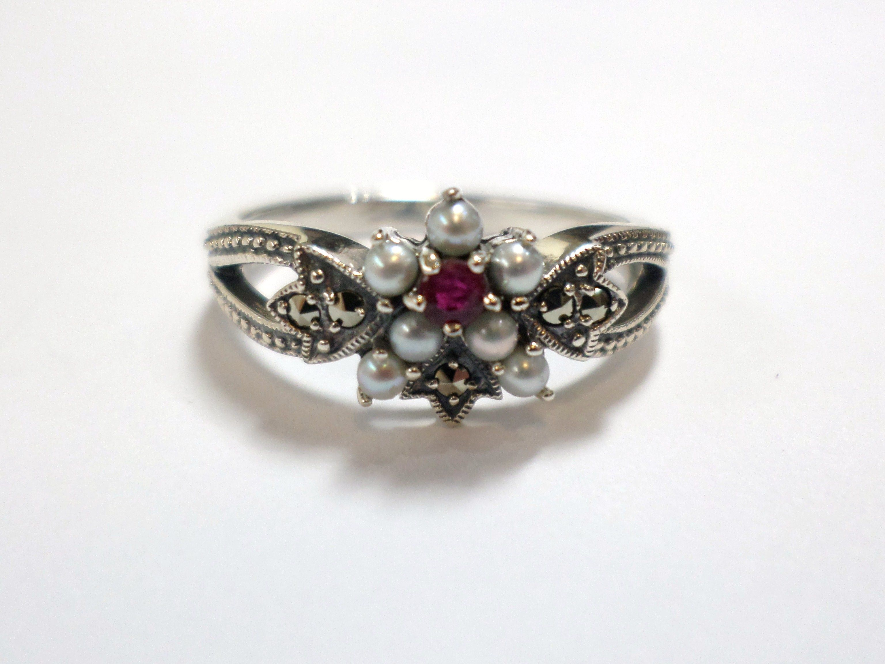 Sterling Silver Daisy Flower Cluster Ring Set With Marcasite Ruby And Cultured Freshwater Seed Marcasite Jewelry Cluster Ring Set Birmingham Jewellery Quarter