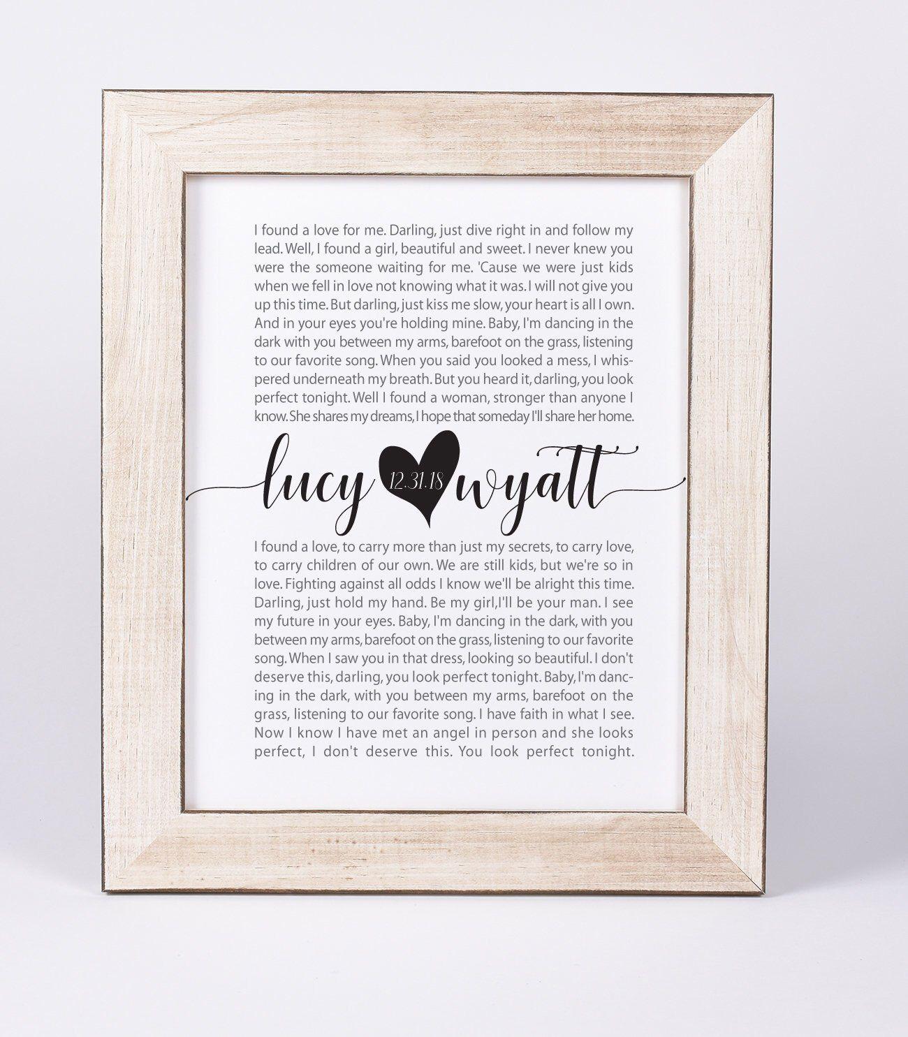 Song lyrics wall art wedding song first dance heart Etsy