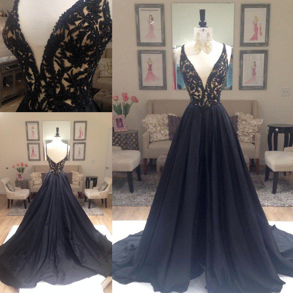 Black prom dressessparkle evening dressbeaded prom dressesblack
