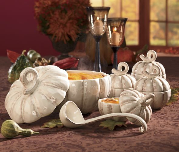 Pumpkin Tureen & Set of 4 Pumpkin Soup Bowls from Through ...