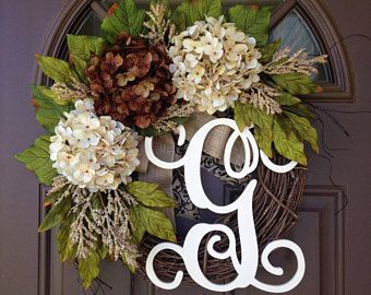 BEST SELLING Year Round Cream Hydrangea Wreath For Front Door   Grapevine  Wreath With Burlap And Initial   Monogram Everyday Wreath