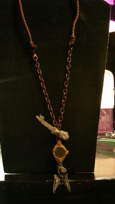 Steampunk time necklace on copper chain and brown leather. $24