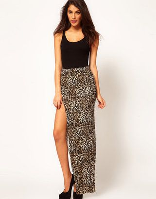 ASOS Animal Maxi Skirt with Thigh High Split