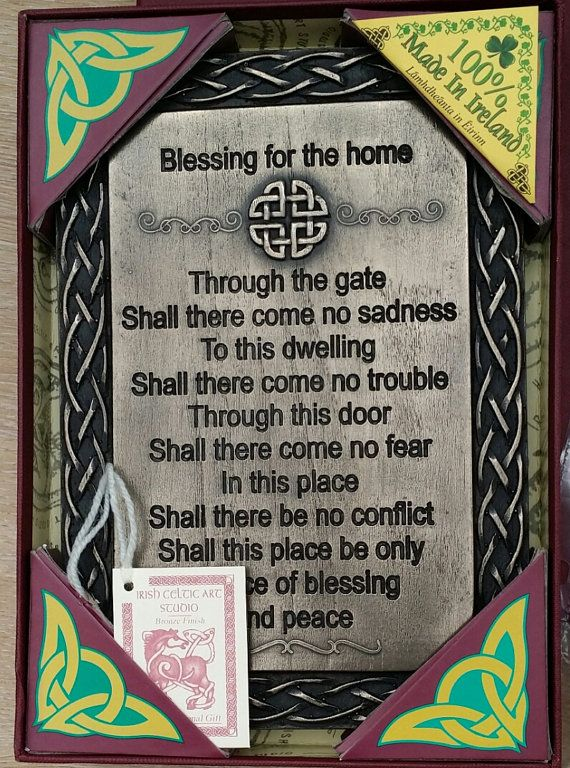 Celtic Home Blessing Plaque Bronze finished plaque that is handmade in Ireland comes boxed with inidual background information. Edit Inline & Celtic Home Blessing Plaque Bronze finished plaque that is handmade ...