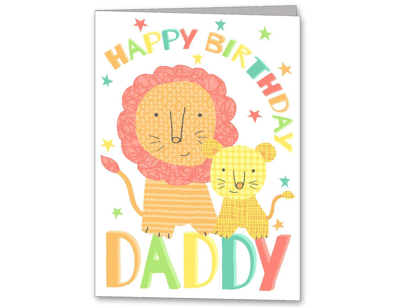 Lion Birthday Card For Daddy Grandad Grandpa Step Dad Cute And