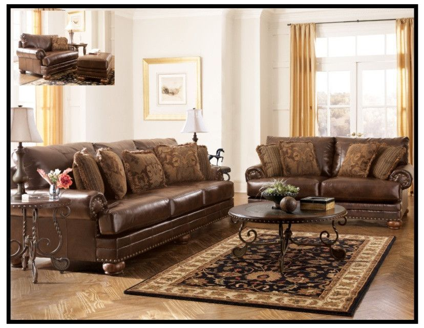 1560 The Contemporary Living Room Set Cocoa Ashley Furniture Living Room Living Room Leather Living Room Sets