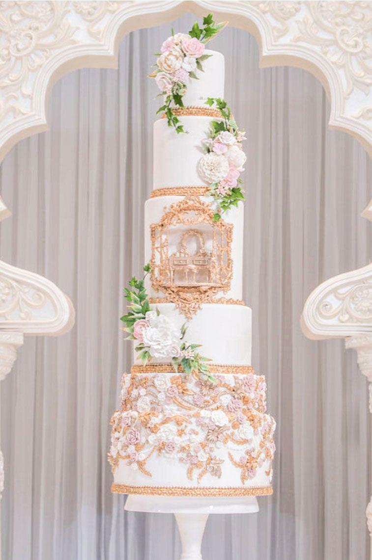 Lavish wedding cake by Fine Cakes by Zehra