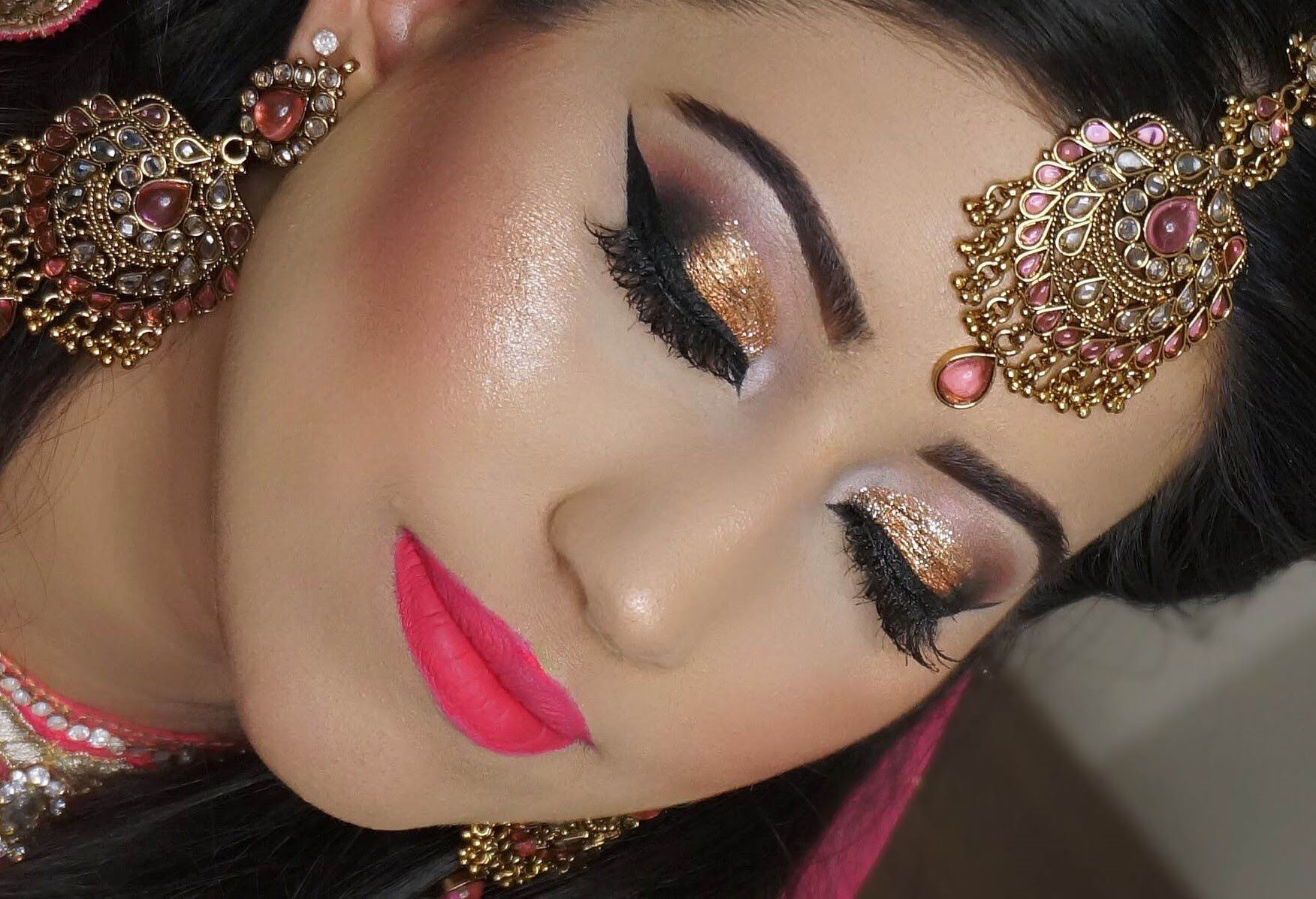Real Bride Engagement Nikaah Asian Bridal Makeup Gold Smokey Eyes And Bright Pink Lipstick Bridal Makeup Tips Bridal Eye Makeup Bridal Makeup