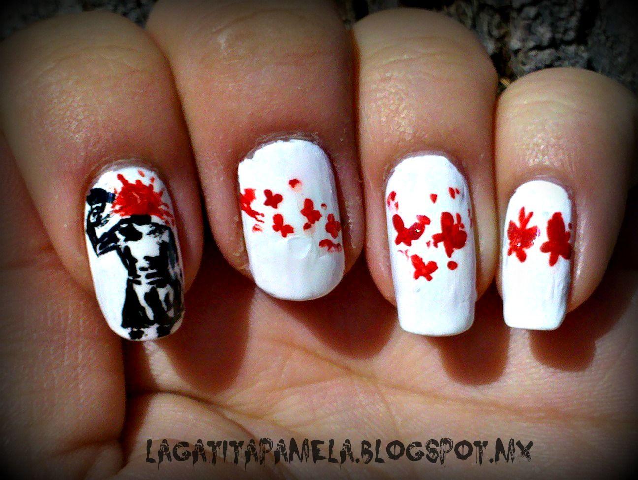 Emo nails blood splatter nails | nails | Pinterest | Emo, Arte de ...