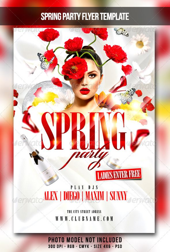 Spring Party Flyer  Party Flyer Flyer Size And Font Logo